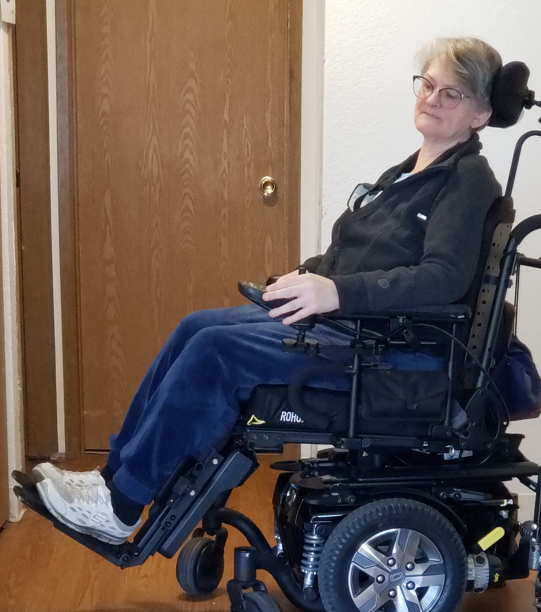 The author in her J4 powerchair
